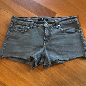 7 for all mankind Olive green denim shorts - 26